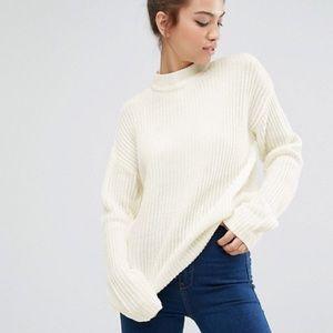 Vintage • Cream rib knit sweater